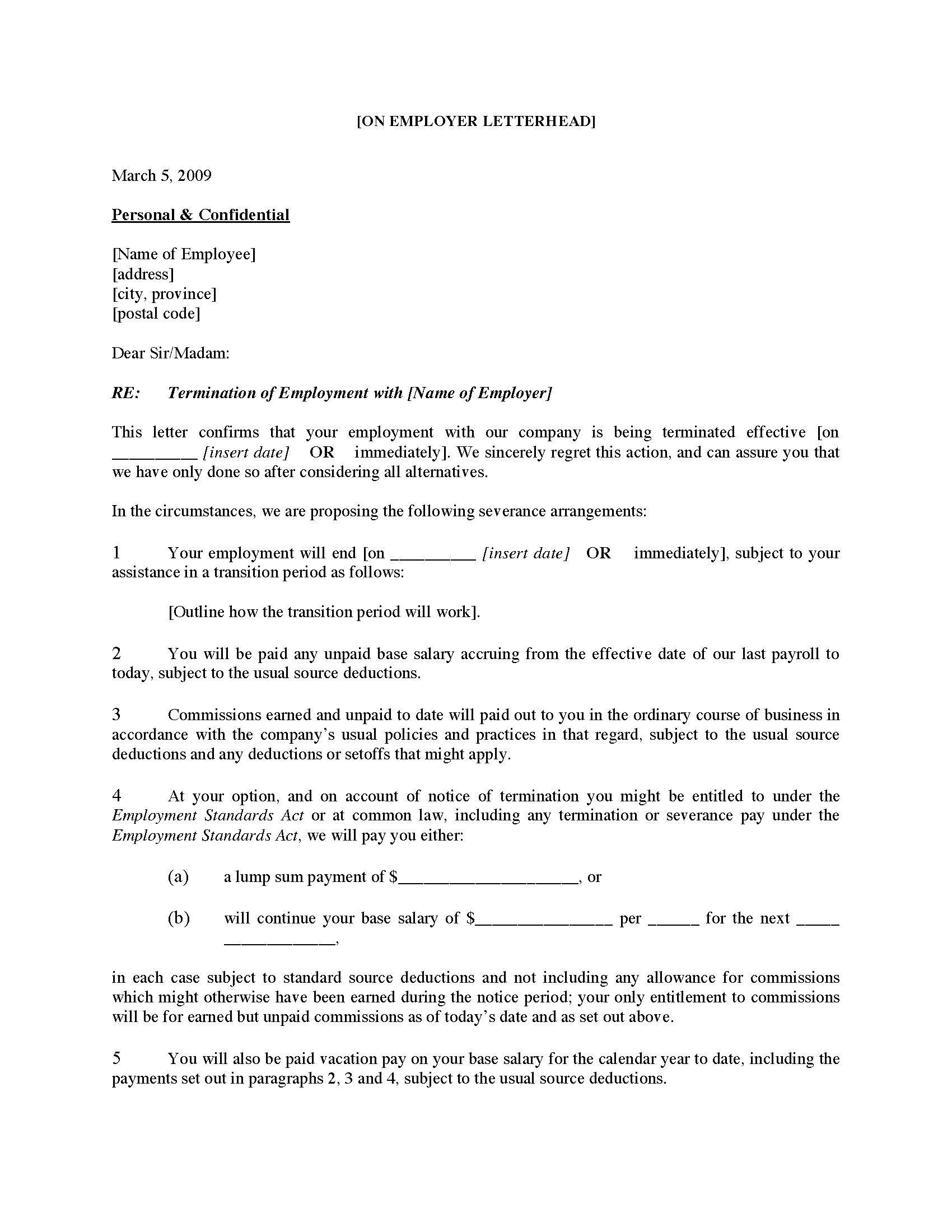Canada Employee Termination Letter For Cause