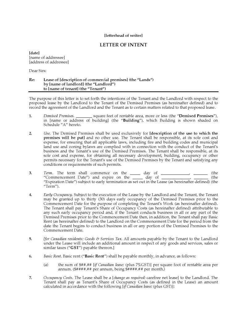 letter of intent commercial lease | Poemsrom.co
