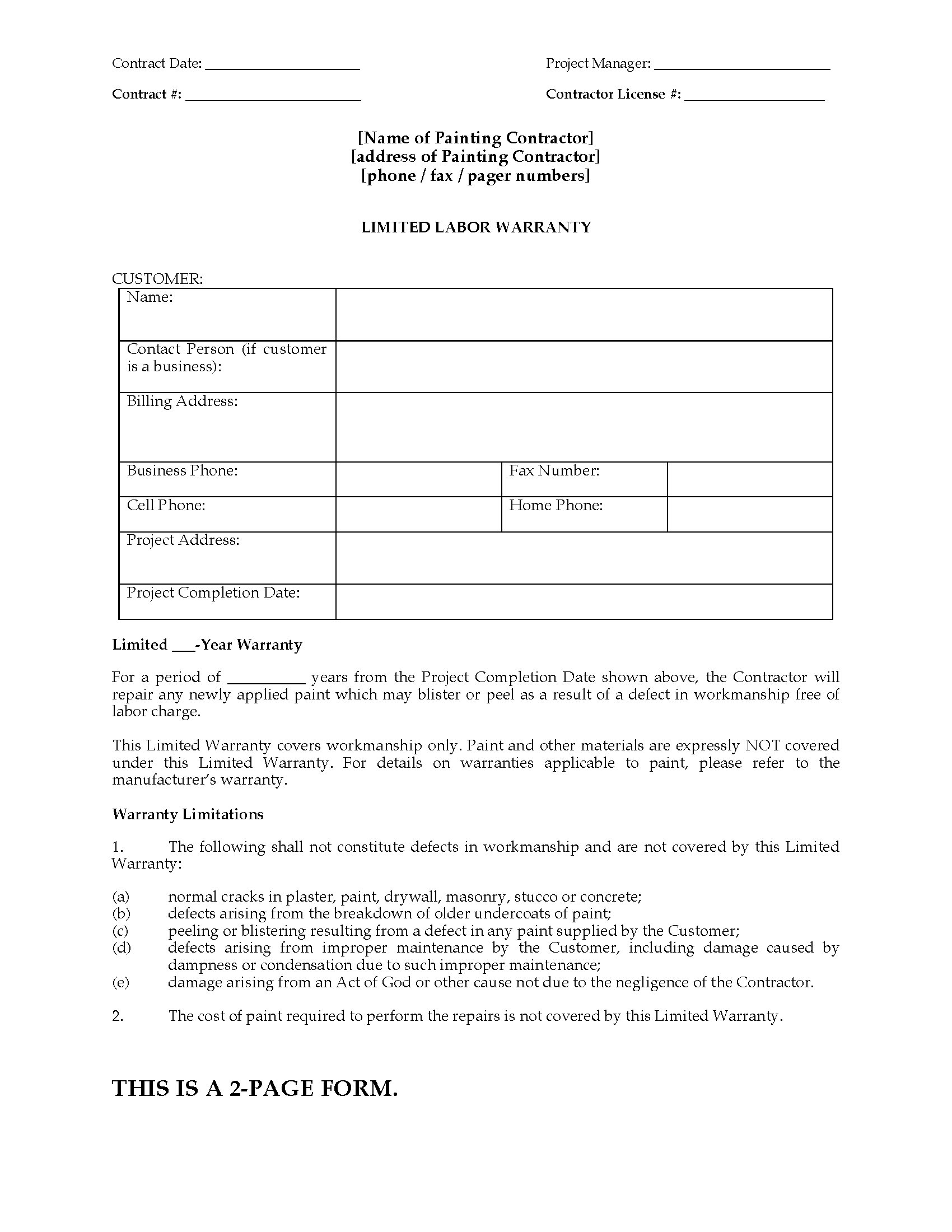 Painting Limited Warranty Certificate Form