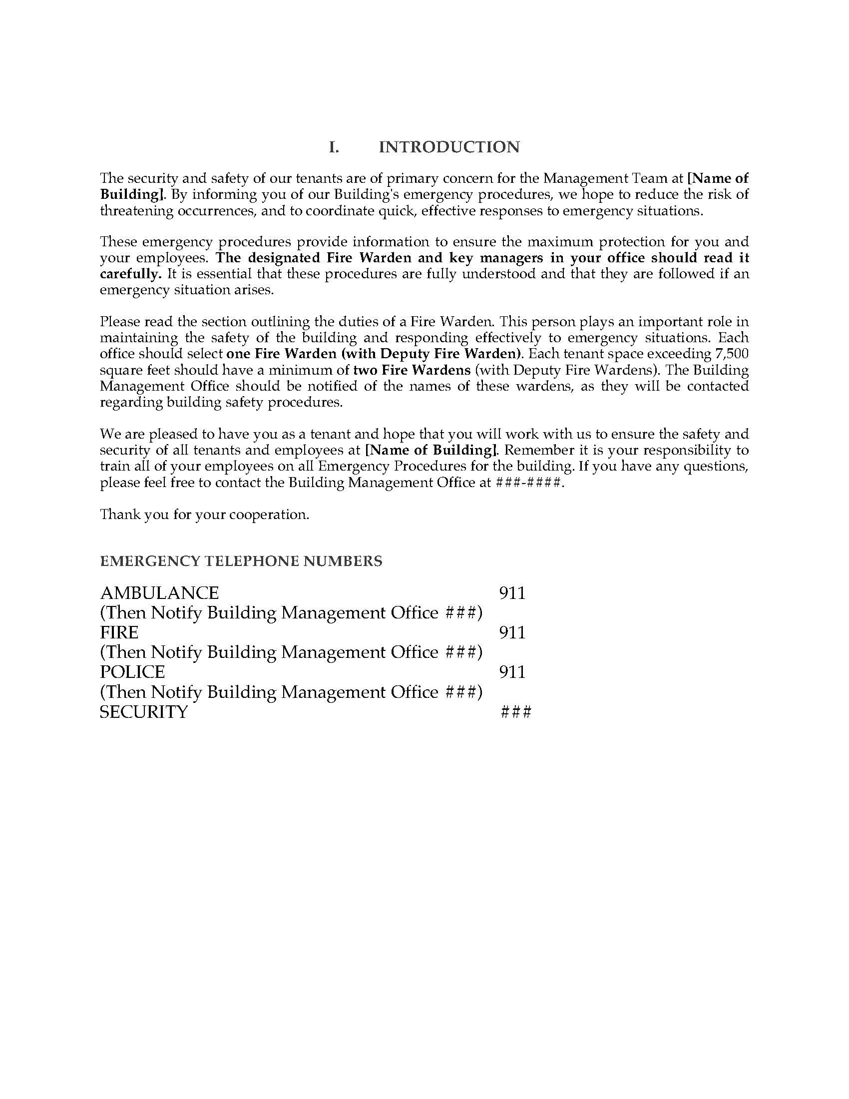 Commercial Tenant Emergency Procedures Manual