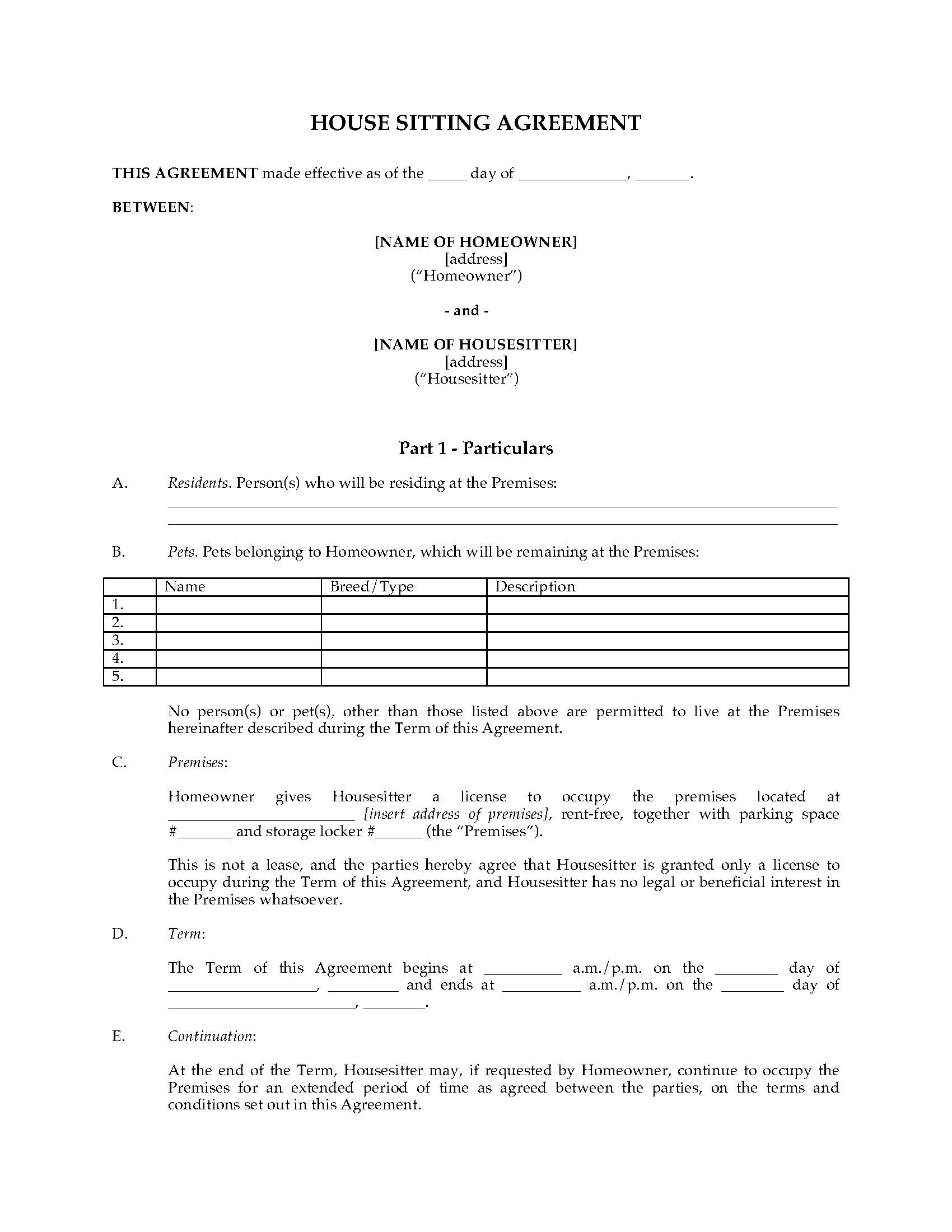 House Sitting Agreement