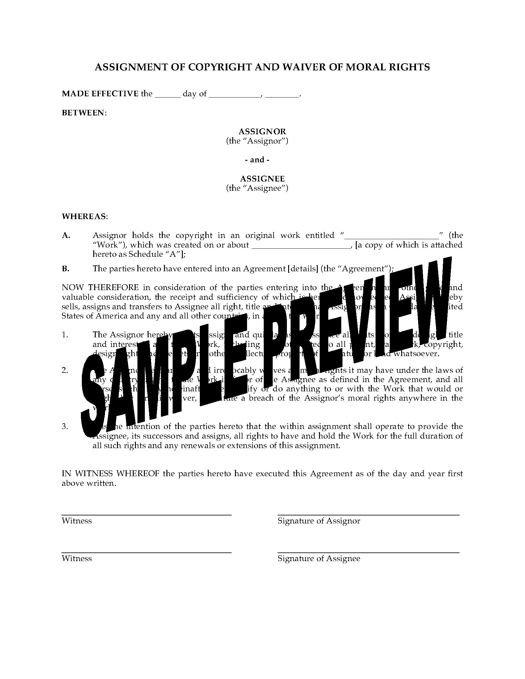 Canada Assignment Of Copyright And Waiver Of Moral Rights