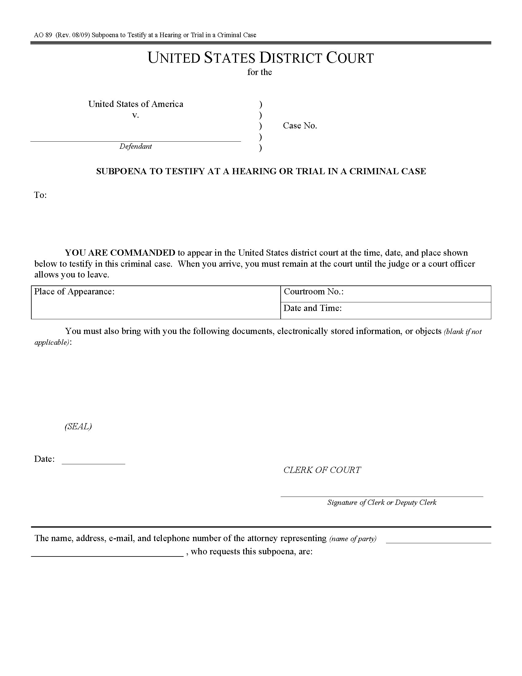 Usa Subpoena To Testify At Hearing Or Trial Form Ao 89