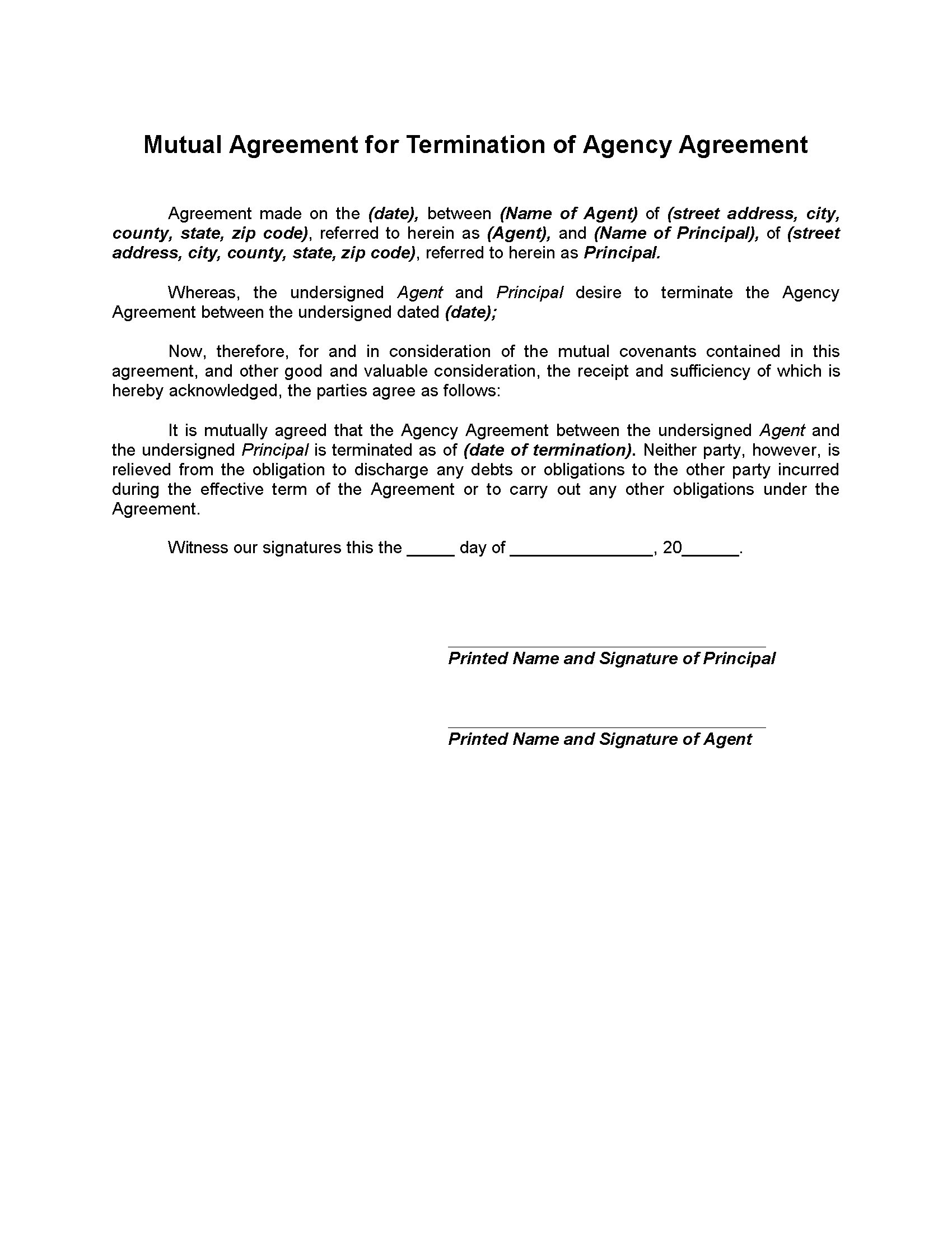 Mutual Termination Of Agency Agreement