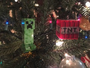 Creeper and TNT ornaments on the tree.
