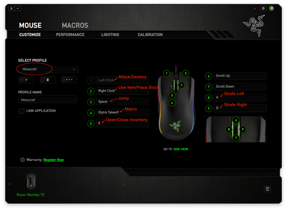 Razer mouse config for one handed Minecraft top view