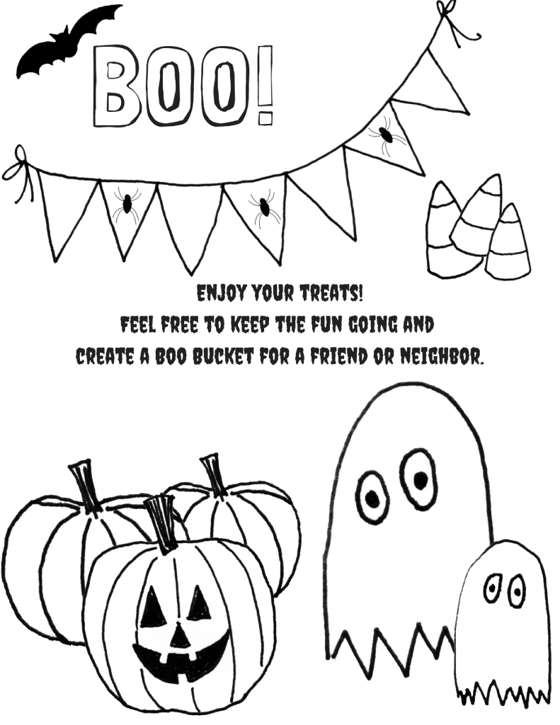 Boo Bucket Free Printable Coloring Page