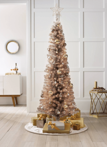 Artificial Rose Gold Christmas Tree From Target