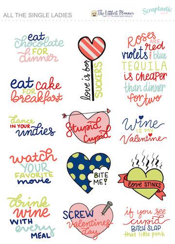 Anti Valentine's Day Planner Stickers