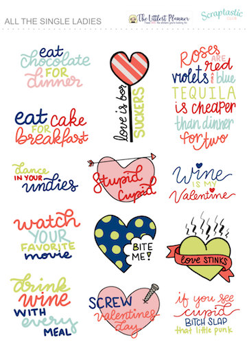 anti valentines day planner stickers