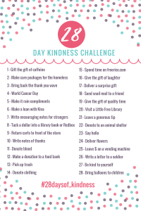 28 Days of Kindness | A full month of random acts of kindness! Easy prompts to show kindness to others. #kindness #kindnesschallenge #kindnesschallengeideas