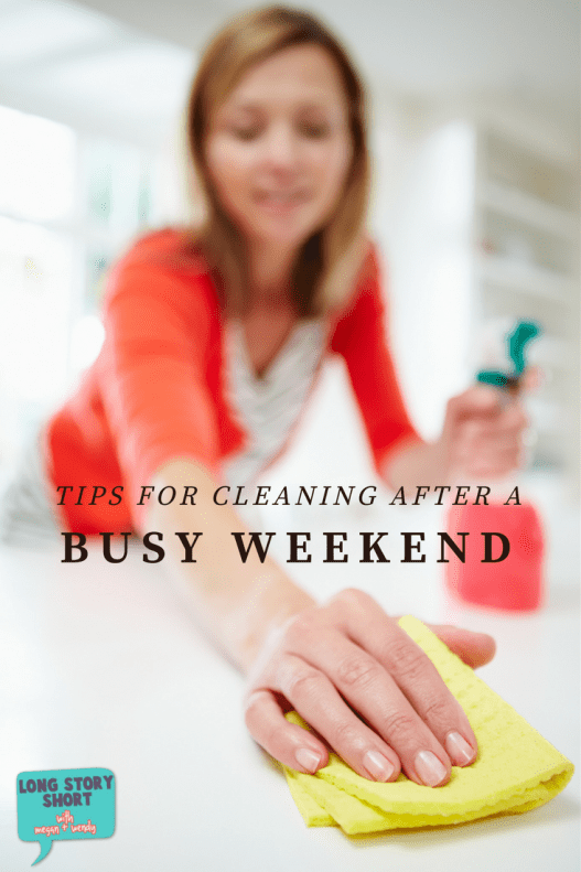 Tried and true tips on how to tidy up your cluttered spaces after a busy weekend. What I do to quickly minimize the clutter and get the main areas of my home cleaned up.
