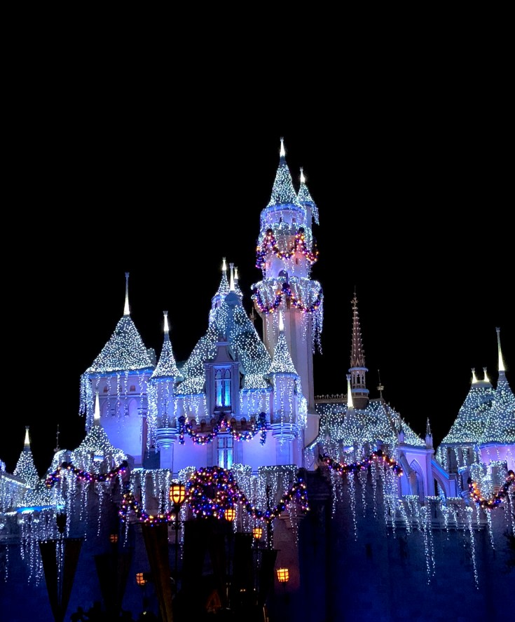Sleeping Beauty's castle at Disneyland during the Christmas holidays.