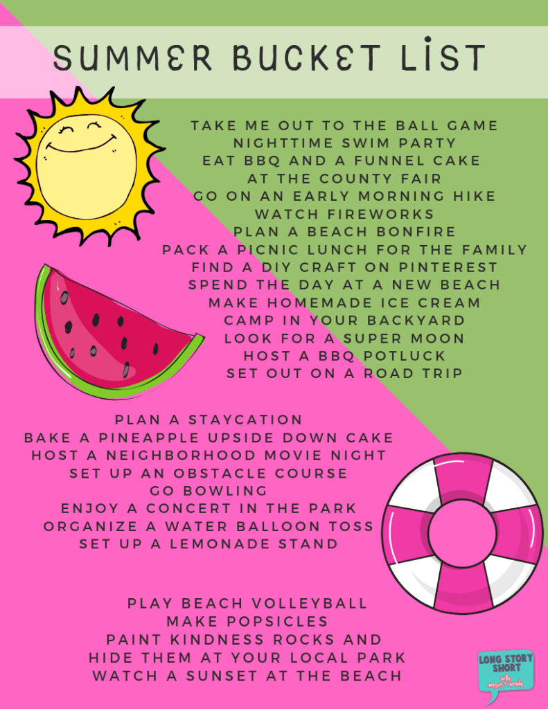 Out of ideas on how to keep your kiddos busy this summer? We've put together a somewhat easy list of summer ideas that can turn any boring day around! | Long Story Short | #summer #bucketlist