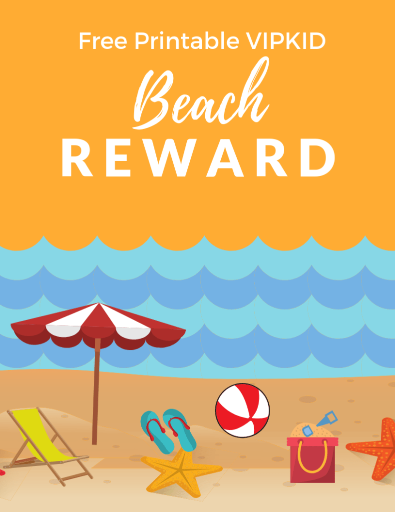 Free VIPKID Printable Beach Reward System - Download this free reward system to use in your own VIPKID classroom!