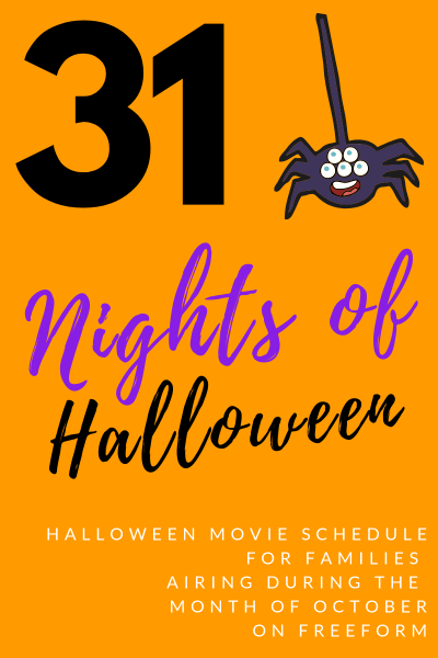 Don't miss Freeform's 31 Nights of Halloween! Here is the schedule of Halloween movies airing this October! | #Halloween #FamilyMovieNight #Freeform