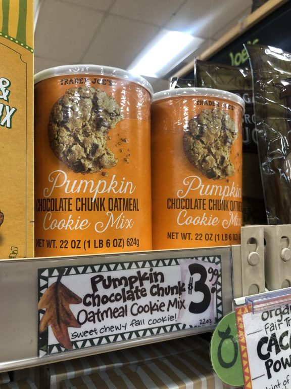 Trader Joe's Pumpkin Chocolate Chunk Cookie Mix $3.99! Who can pass on a pumpkin oatmeal cookie? #TraderJoesFallFavorite
