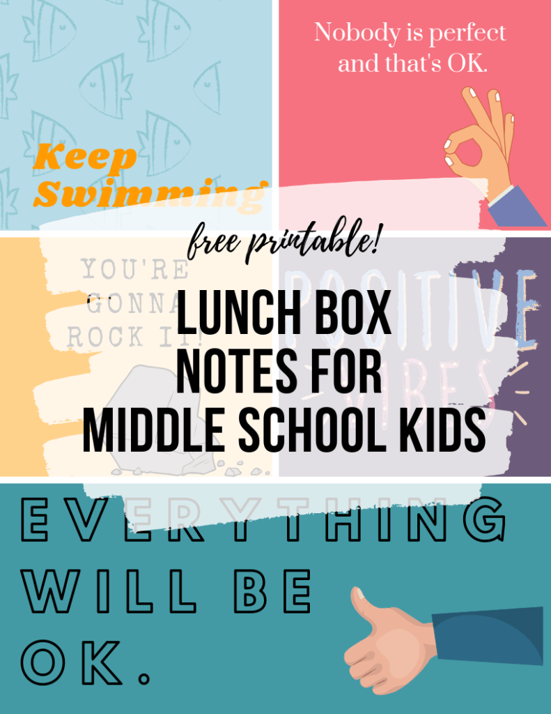 Download and print this FREE PRINTABLE! Lunch box notes do not have to be limited to younger children. Send a note of encouragement to your middle school kids.