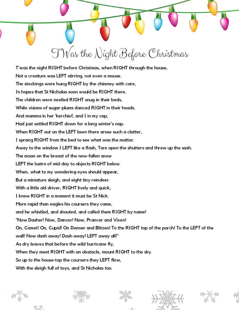 T'Was the Night before Christmas Holiday Gift Exchange Poem