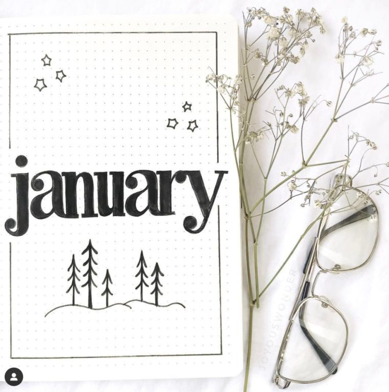Looking for January bullet journal inspiration? We've pulled together some of our favorite January-specific bullet journal covers and pages for you! #BUJO