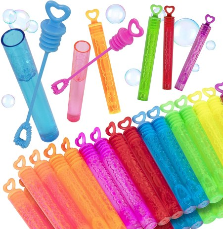 Bubble wands are a great idea for valentine gifts. They can be purchased in bulk and feature a plastic heart on the wand.