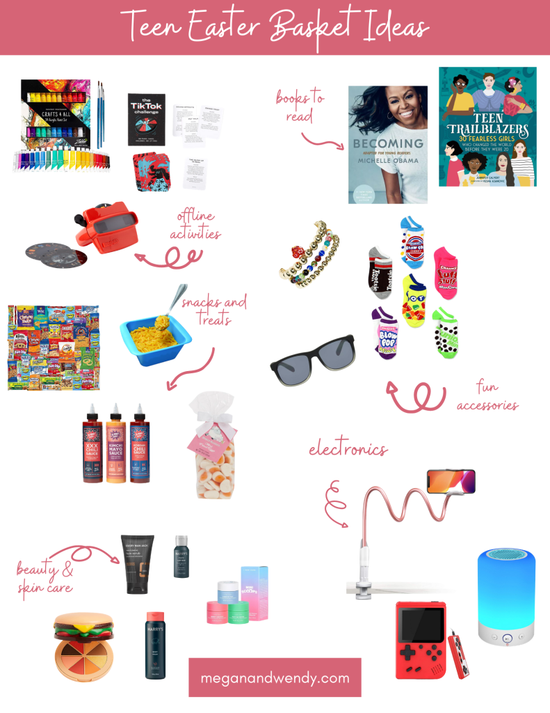 Easter Basket Fillers for Teenagers - What to put in your teen's Easter Basket! We've got ideas including snacks, books, socks, accessories, non-screen activities and even electronics!