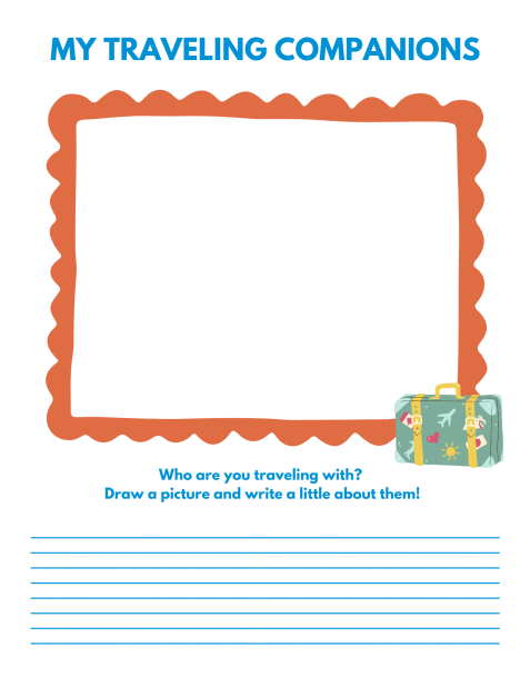 My Traveling Companions Drawing and Writing Page - Road Trip Activities for Kids