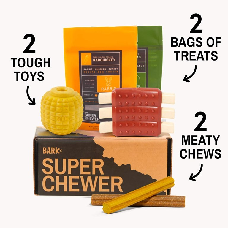 Bark Box SUPER CHEWER is a great subscription box for dogs that chew through everything. #PetGiftGuide