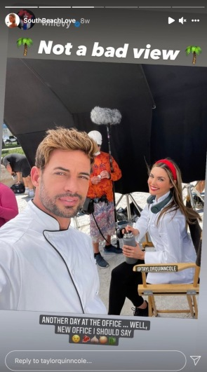 """William Levy and Taylor Cole on set of """"South Beach Love"""" - listen to Megan and Wendy review this movie in a bonus Girls Gone Hallmark podcast episode. #Hallmarkies #WilliamLevy #HallmarkMovieReview"""