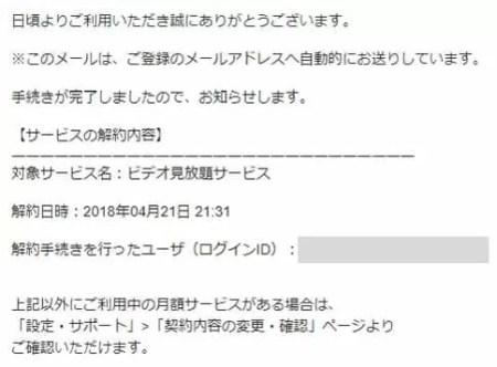 U-NEXT(ユーネクスト) 解約確認メール