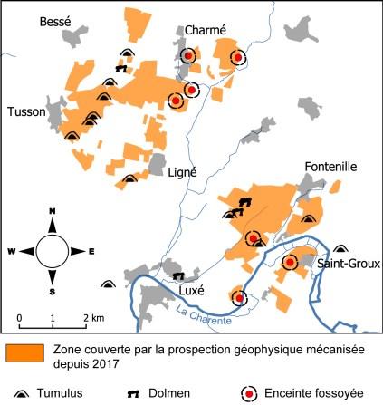 carte des prospestions géophysiques