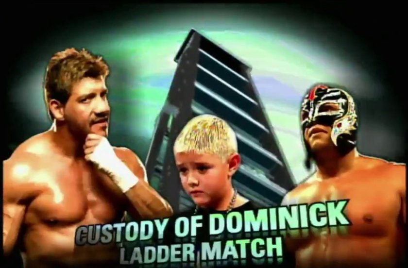"""Intanto, dopo aver conquistato insieme i titoli di coppia, lui e Guerrero si ritrovarono nuovamente uno contro l'altro. Come detto, a Eddie riusciva benissimo sia la parte del """"buono"""" che quella del """"cattivo"""". E soprattutto gli piaceva un sacco variare, trovandosi perfettamente a suo agio nei panni del perfido antagonista. Ad un certo punto saltò fuori l'idea di usare i problemi di droga e alcol superati da Guerrero nella vita reale per creare sul ring una storyline molto intensa e personale. D'accordo con Rey, si decise di coinvolgere suo figlio Dominik in una faida on screen per la paternità del bambino. In sostanza, la storia messa in scena era che il vero padre di Dominik fosse in realtà Eddie e che questi, non essendo in condizione di badare al figlio per i problemi di cui sopra, avesse chiesto all'amico di crescerlo lui. Adesso, però, lo rivoleva indietro."""