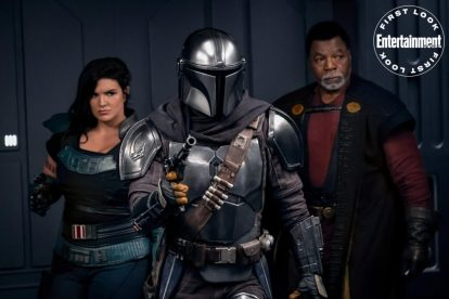 THE MANDALORIAN (Left to right) Gina Carano is Cara Dune, Pedro Pascal is the Mandalorian and Carl Weathers is Greef Karga
