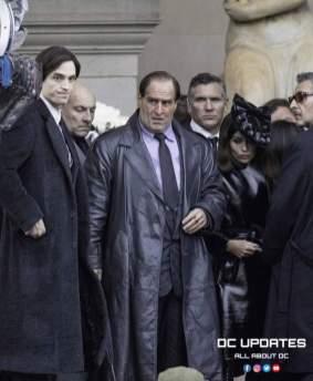 Robert Pattinson, Colin Farrell e Zoë Kravitz sul set di The Batman