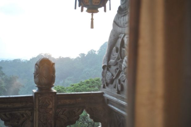the view in the late afternoon from the ornate wooden balcony of the rooms at Chuan Hua Hall, Shihtoushan, Taiwan