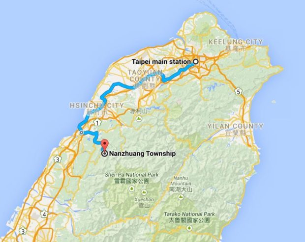 Google map of the journey from Taipei Train Station to Lion's Head Mountain in Taiwan