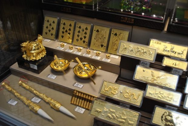 Gold in every sort of molded, casino-themed form you could conjure up in your mind