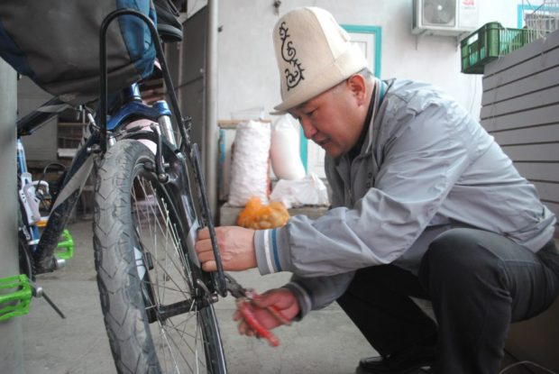 A helping hand, in Kyrgyzstan.