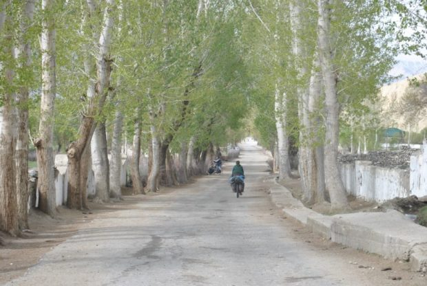 A ride through a tree-lined Wakhan village.