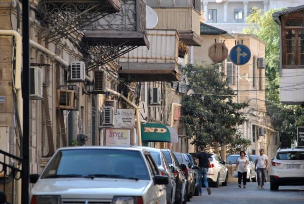 Stepping off into the side streets of central Baku.