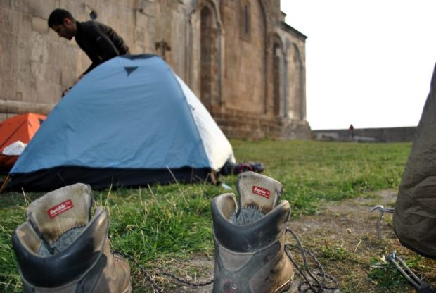 Camping at the foot of Gandzasar Monastery, NKR.