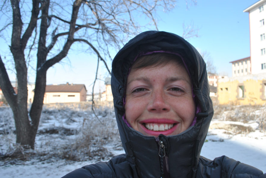 Me in a down jacket on a clear cold day in Ardahan in Turkey