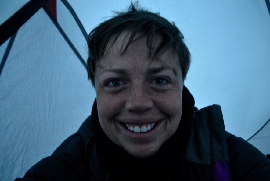 Me in the tent in Kyrgyzstan with dirt on my face
