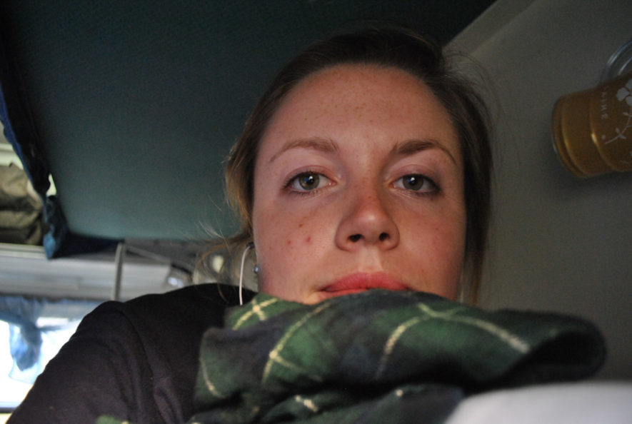 Me on my bunk on a train in China