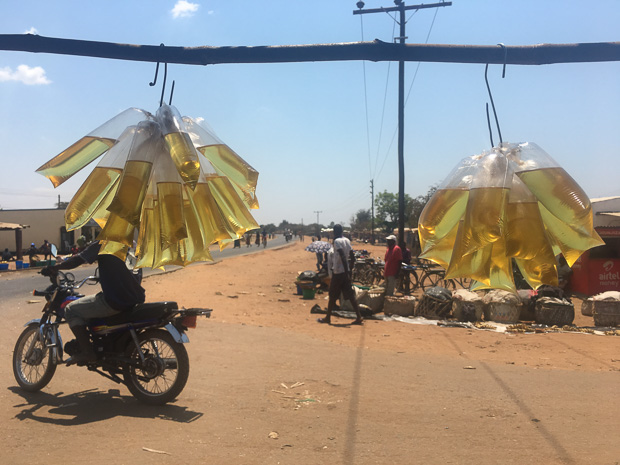 small plastic bags of vegetable oil hanging from a kiosk in rural Malawi