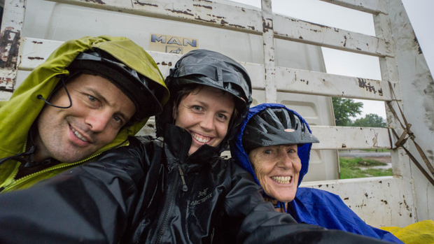 Evan, Anne and I in the back of a truck on a rainy day in Zimbabwe hitchhiking