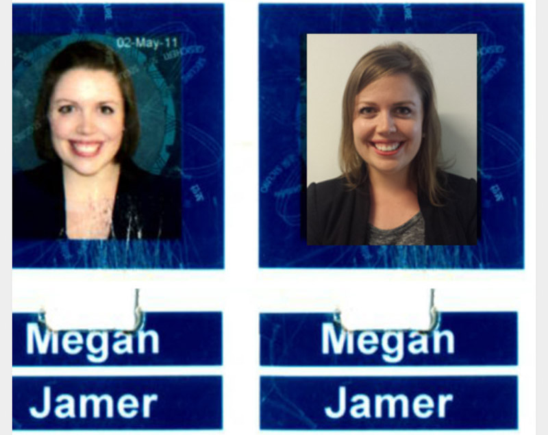side by side photographs of my ID card picture from working in Calgary as a geoscientist from 2011 to 2014