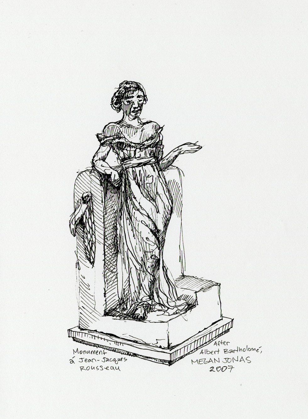 Ink drawing of statue at the Musée d'Orsay.