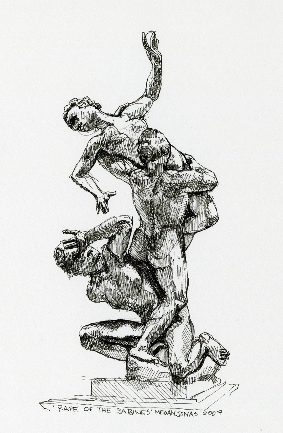 Ink drawing of The Rape of the Sabine Women at the Academy of Fine Arts of Florence.