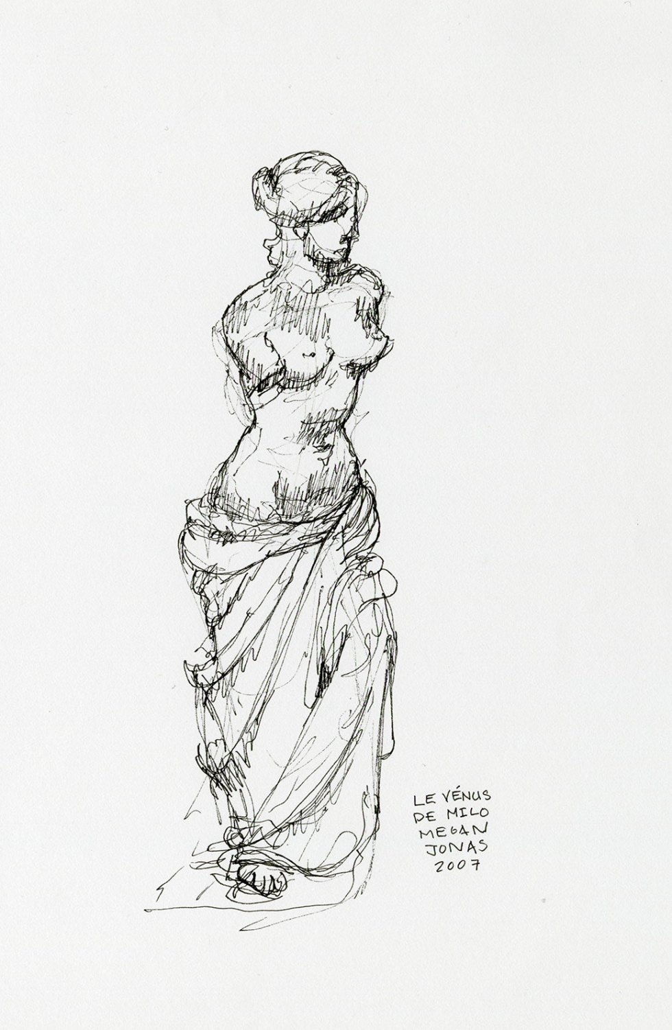 Ink drawing of Venus at the Louvre.